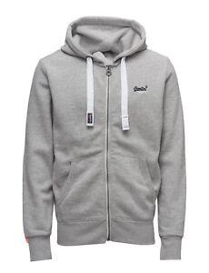NWT-Men-039-s-Superdry-Orange-Label-Zip-Hoodie-Sweatshirt-drawstring-hood-GRAY-MARL