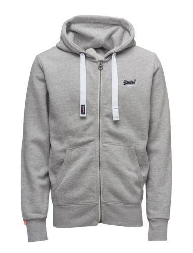 NWT Men/'s Superdry Orange Label Zip Hoodie Sweatshirt drawstring hood GRAY MARL