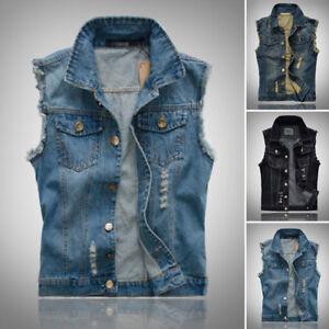 emballage fort nouvelles variétés meilleur endroit Details about Jacket Causal Fashion Cool Jean Men's Vintage Vest Sleeveless  Mens Denim Coat