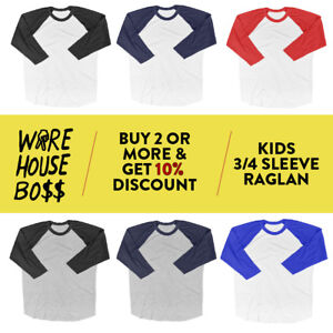 Morningwood Lumber Kids Jersey Raglan T-Shirt Children 3//4 Sleeve Baseball Shirt Top