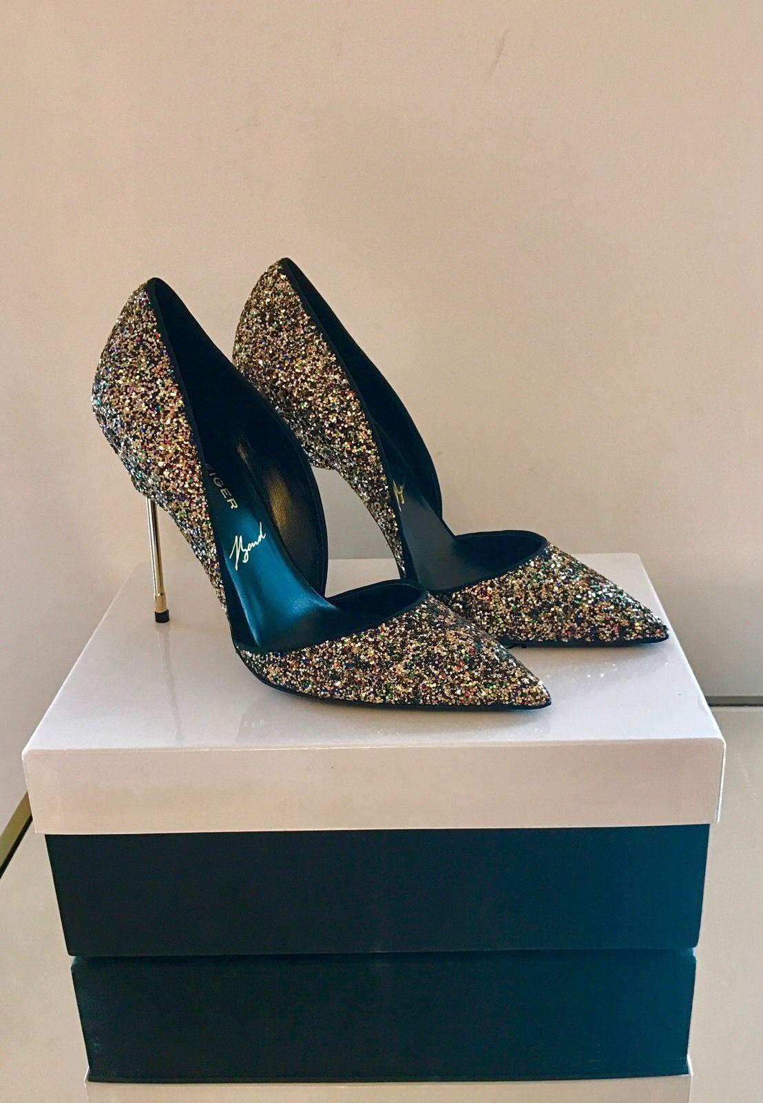 Kurt Geiger London Bond Black & gold Glitter Court shoes Size 4 EU 37 New In Box