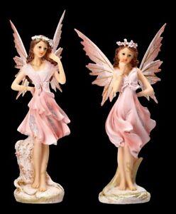Elfen Figuren 2er Set - Altrosa Fairy Schwestern Fee Fantasy Deko