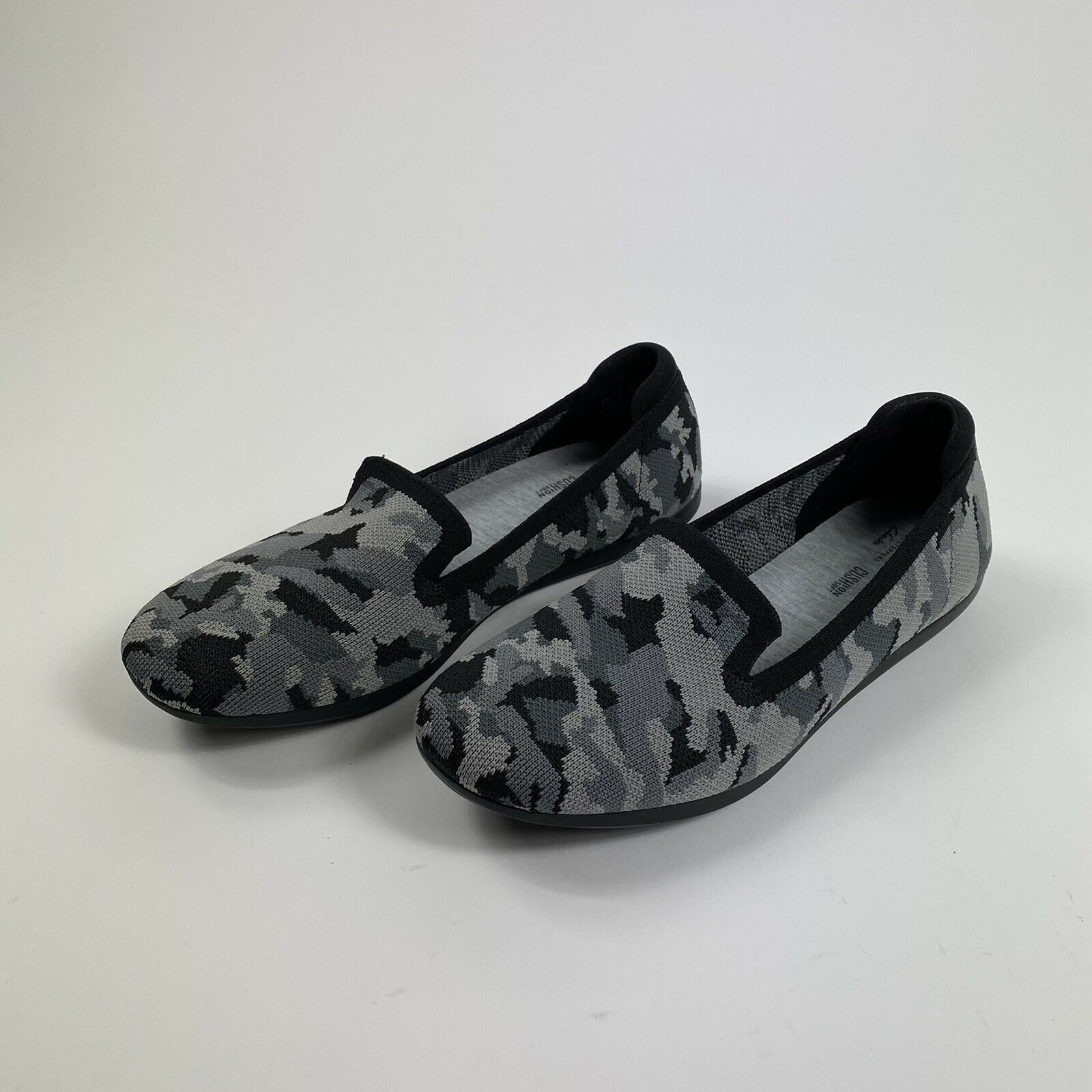 Cloudsteppers by Clarks Womens Carly Dream Washable Knit Slip-On Grey Camo 8M