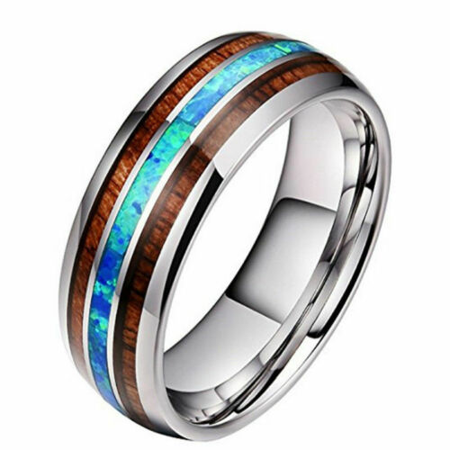 8mm Tungsten Carbide Hawaiian Koa Wood and Abalone titanium steel Men Rings