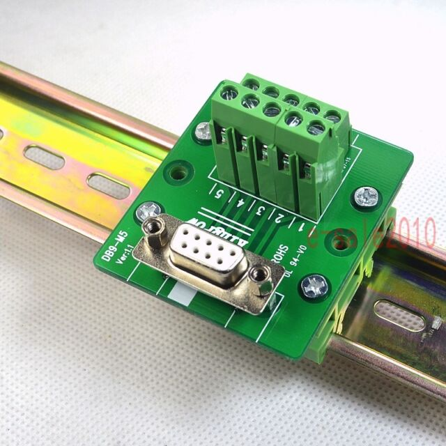 Din Rail Mount D Sub Db 9 Female Module Breakout Board Terminal Block Connector For Sale Online