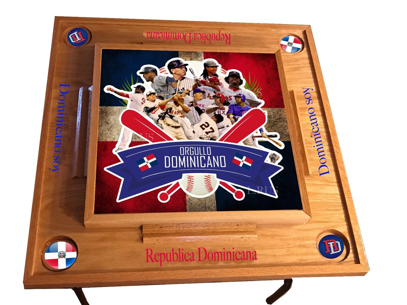 Orgullo Dominicano Baseball Domino Table -Natural