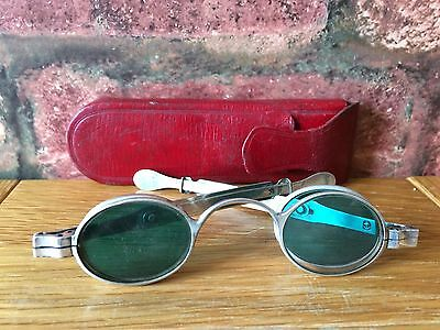 8fc4f55e628 Antique Silver 1827 Georgian Duel Clear   Green Tinted Wig Spectacles   Case