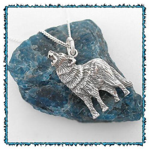 Ohrringe Ohrhänger mit Anhänger Heulender Wolf Silber Indianerschmuck