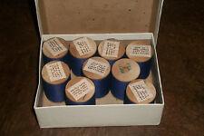 vtg Wooden Spool thread left twist soft finish sewing 50/3 x 500 BOX LOT blue