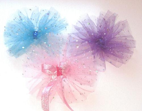 SPARKLY BOW 6inch GIRL KIDS CHILDREN HAIR RIBBON BOWS ALLIGATOR CLIP PINK BLUE
