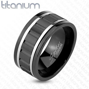 Image Is Loading Anium Wavy Black Ip Steel Lines Mens Ring