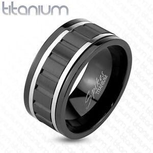 Titanium Wavy Black IP Steel Lines Mens Ring Wedding Band Spinner Ring | eBay
