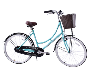 Ammaco Holland Womens 26  Wheel Dutch Style Bike & Basket Mint Green 16  Frame