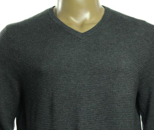 New INC International Concepts V Neck Tonal Stripe Merino Wool Blend Sweater