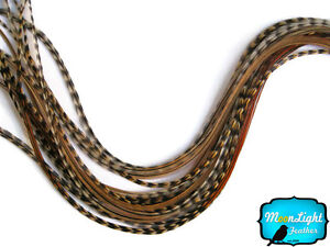 10 Pieces - UNIQUE CREE Grizzly Thin Long Rooster Hair Extension Feathers