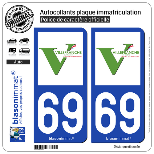 2 Autocollants Plaque Immatriculation Auto : 69 Villefranche-sur-saône - Ville