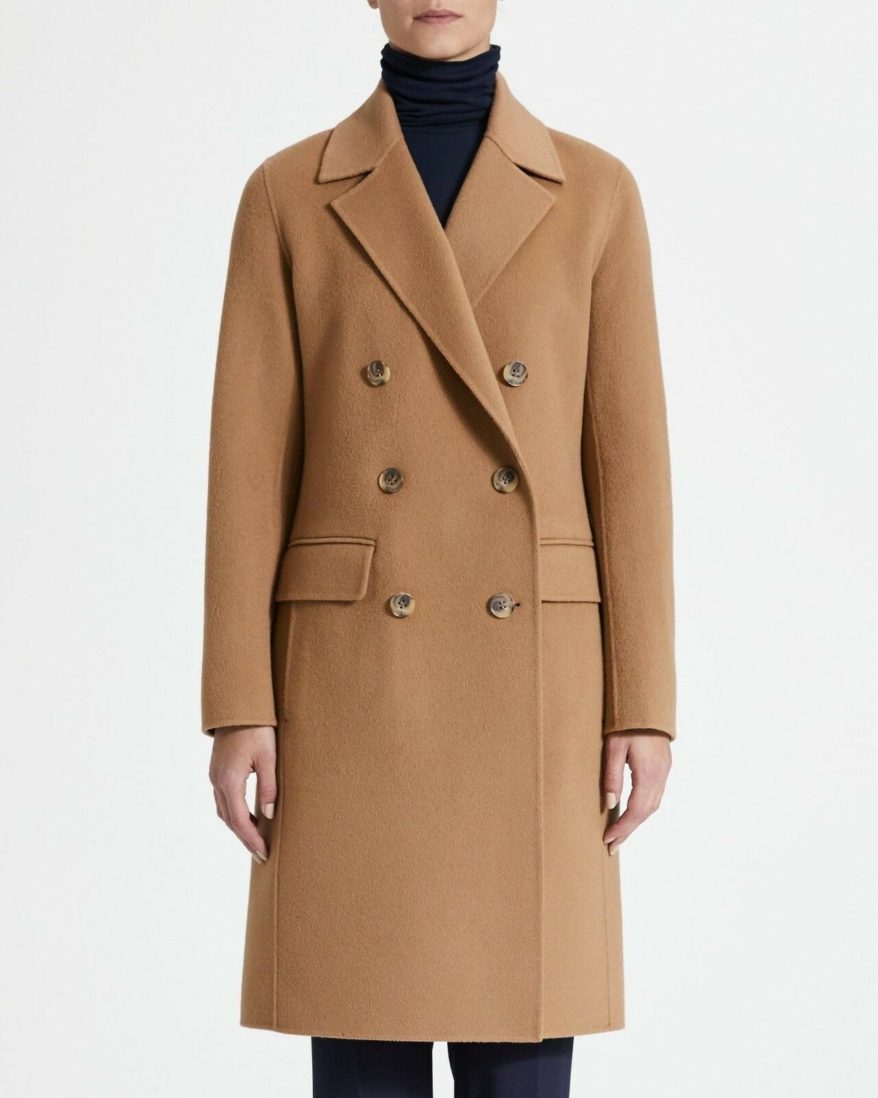 NWT Theory New Divide Wool & Cashmere City Coat Dark Chestnut Size S  795