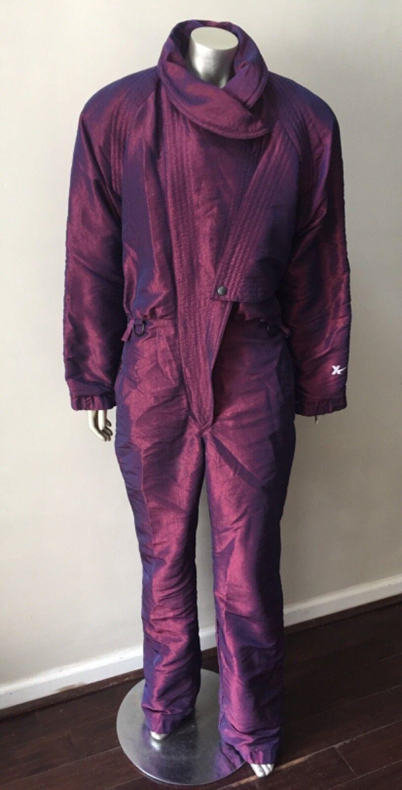 Metallic Retro Vintage 90s Ski Snow Suit Coat  Insulated Jumpsuit Purple L  the lowest price