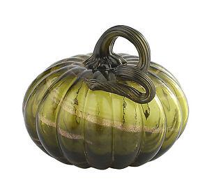 """New 5"""" Hand Blown Art Glass Pumpkin Sculpture Figurine Fall Harvest Dark Green"""
