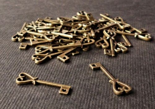 100 Antique Bronze 25mm Heart Key Charm Anniversary Wedding 21 birthday favour