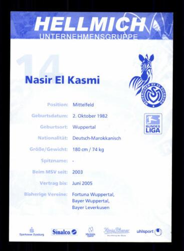 Nasir El Kasmi Autogrammkarte MSV Duisburg 2003-04 Original Signiert