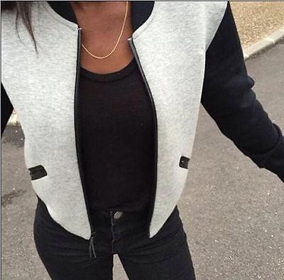 Fashion Women's Plain Baseball Jersey Cotton Zip Up Slim Coat Cardigan Jacket