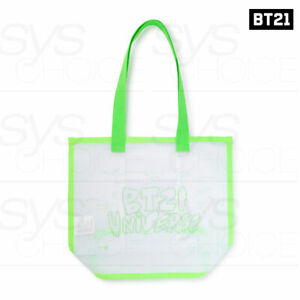 BTS-BT21-Official-Authentic-Goods-Neon-Collection-Neon-Green-Logo-Mesh-Bag