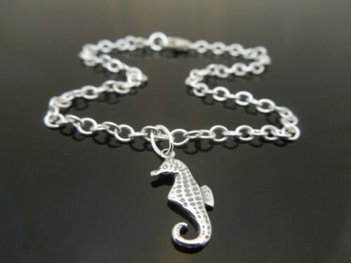 """3mm Sterling Silver Bracelet Or Ankle Chain Anklet Seahorse Charm 7/"""" 8/"""" 10/"""" 11/"""""""