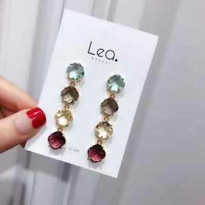 Boucles d/'Oreilles Clous Doré Chandelier Art Deco Perle Multicolore Beige XX35