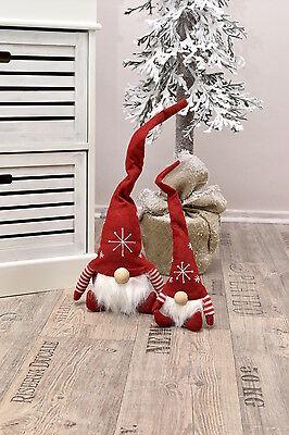 HOME KONTOR XMAS Wichtel Kantenhocker Filz Baumschmuck Weihnachten rot grau 36cm