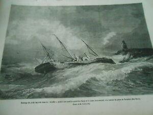 100% Vrai Gravure 1878 - Naufrage Du Yacht Impérial Russe Le Livadia Grand Duc Serge