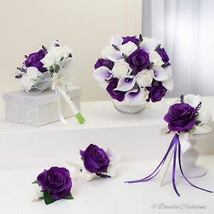 Wedding flowers in purple silk roses real touch calla lilies image is loading wedding flowers in purple silk roses amp real mightylinksfo