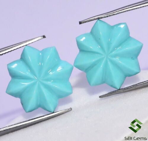 Certified Natural Turquoise Hand Made Carving Pair 15 mm 7.81Cts Calibrated Gems