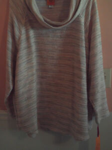 NWT Ruby Road womens ls cowl neck cream striped sweater size 3X
