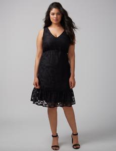 Lane-Bryant-Tiered-Lace-Fit-amp-Flare-Dress-Womens-Plus-18-24-28-Black-2x-3x-4x