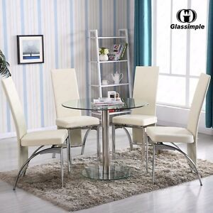 5 piece dining table set round glass 4 chairs kitchen room breakfast