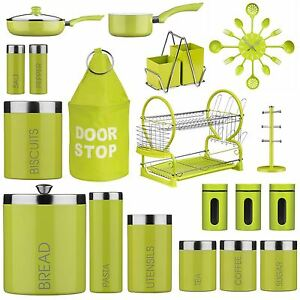 Image Is Loading Lime Green Tea Coffee Sugar Kitchen Storage Jars