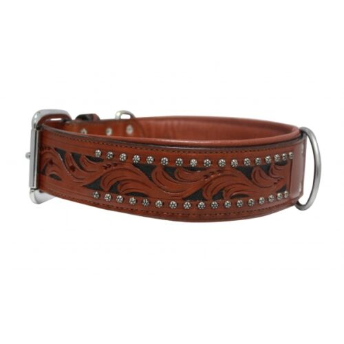 "Angel Elite Genuine Leather Dog Collar 26/"" Handmade Padded Wide Size 16/"""