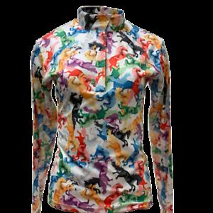 Details about  /Equestrian Horse Show SHIRT LADIES Easy Care  Multi Horse Print  Sun Shirt