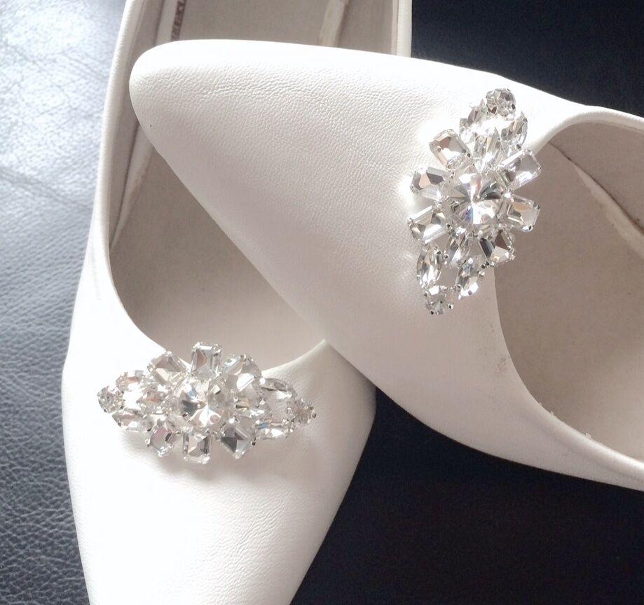 Mini Crystal Wedding Bridal Diamante Crystal Wedding Shoe Clips Charms Pair
