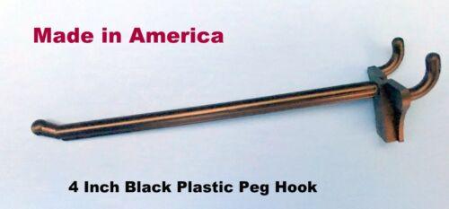 100 PACK Garage Shelf Hanger Pegboard Hooks  USA 4 Inch Black Plastic Peg Kit