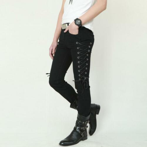 Mens Skinny Slim Lace Up Stage Pants Stylish Jeans Pencil Denim Trousers Strappy