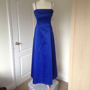 Vestido-de-Noche-Gina-Bacconi-senoras-Formal-Coctel-Crucero-De-Disenador-Azul-Talla-12