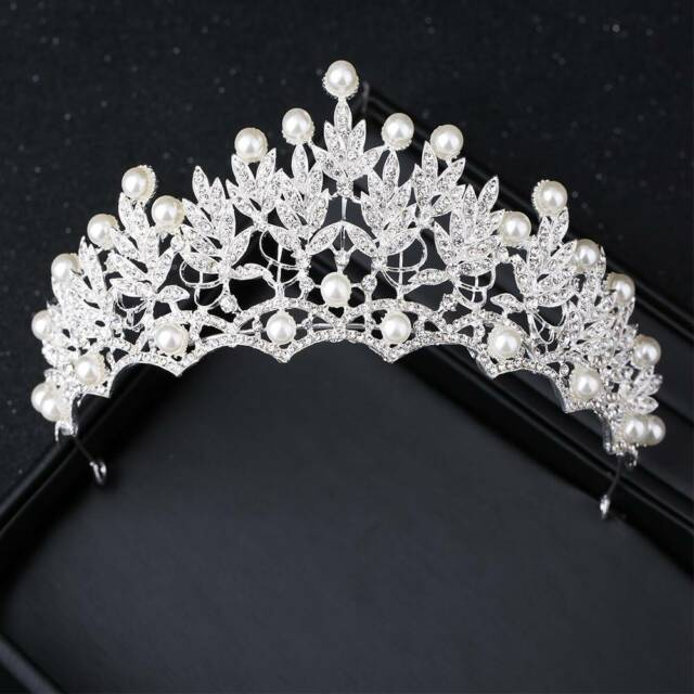 Fashion Silver Crystal Bride Tiara Crown Pearl Headpiece Wedding Hair Jewelry D