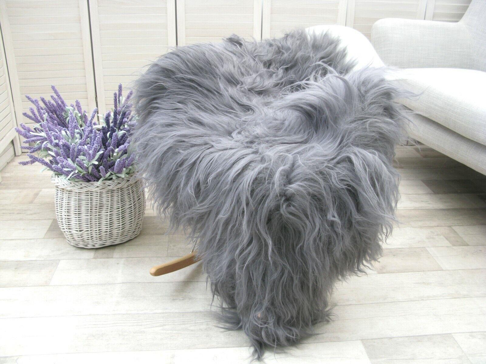 Large Grey Sheepskin Real Icelandic Single Dyed