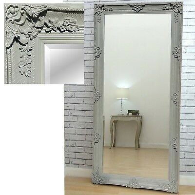 "Abbey Distressed Vinatge Grey Large Wall Leaner Mirror- 2'7"" x 5'5"" (31""x65"")"
