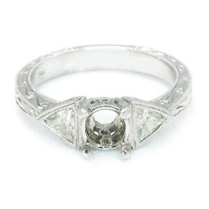 3-Stone-Diamond-Semi-Mount-Engagement-Ring-Setting-with-Trilliant-039-s-14K-50ctw