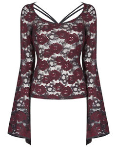 Punk-Rave-Womens-Gothic-Lace-Top-Black-Red-Floral-Steampunk-VTG-Victorian-Witch