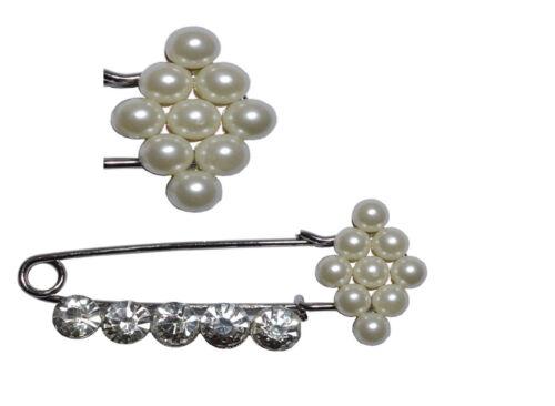 Silver Diamante Metal Pin Brooch kilt scarf cardigan Hijab Bag safety wedding Uk