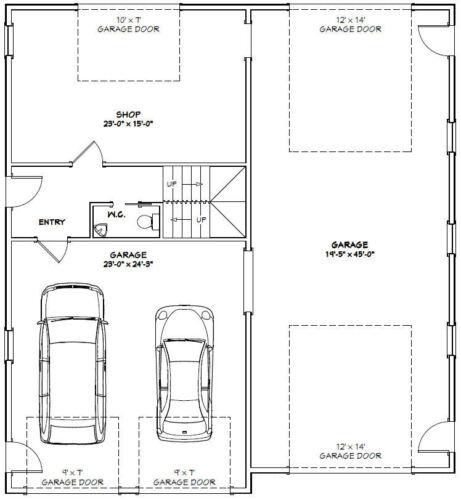 44x48 Apartment with 2-Car 1-RV Garage PDF FloorPlan 1,645 sqft Model 1H